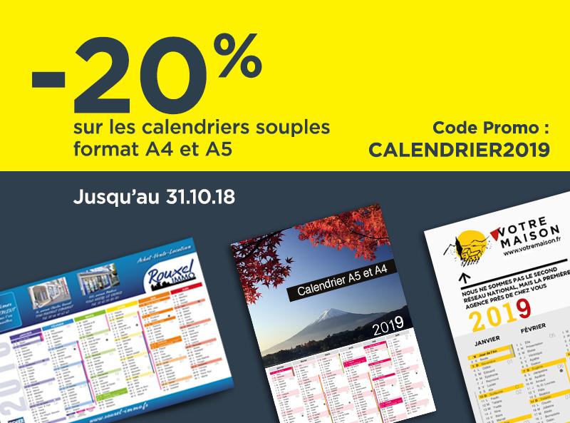Promotion calendriers 2019, impression en ligne calendrier sur papier souple 250g